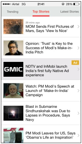 InMobi and NDTV bring Native Advertising on Mobile to India 2
