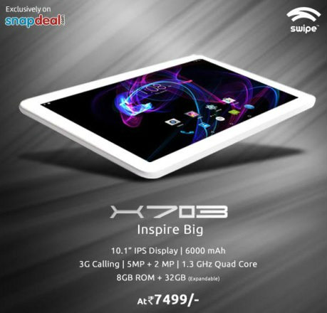 "Swipe Technologies launches 10.1"" Tablet 'X703' @ Rs. 7499 1"
