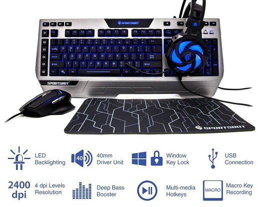 SoundBot launches SportsBot SS302 4-in-1 LED Gaming Over-Ear Headset Headphone, Keyboard, Mouse & Mouse Pad Combo at Rs.3990/- 3