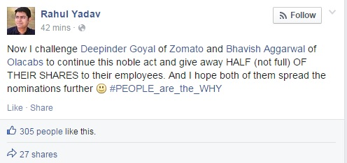 CEO of Housing.com Rahul Yadav challenges Deepinder Goyal of Zomato and Bhavish Aggarwal of Olacabs to give away half of their shares to their employees 3