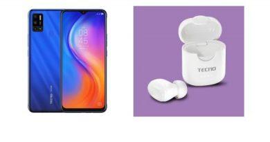 TECNO SPARK 6 Air smartphone and TWS Minipod M1